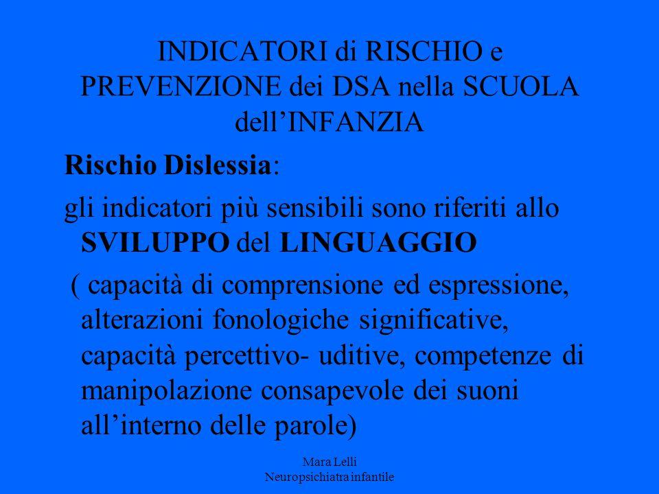 INDICATORI di RISCHIO e PREVENZIONE dei DSA nella SCUOLA dell'INFANZIA