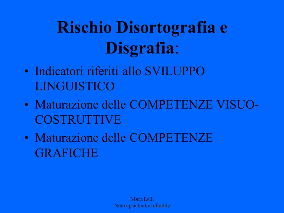 Rischio Disortografia e Disgrafia: