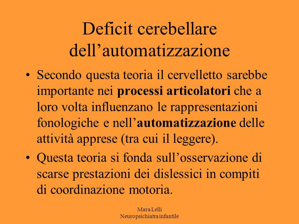 Deficit cerebellare dell'automatizzazione