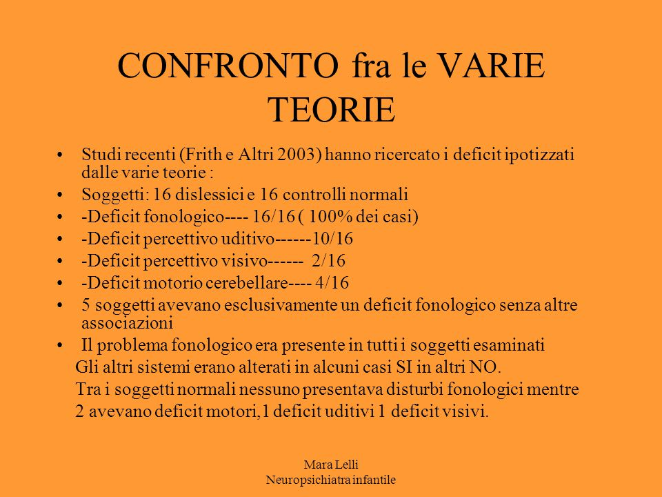 CONFRONTO fra le VARIE TEORIE