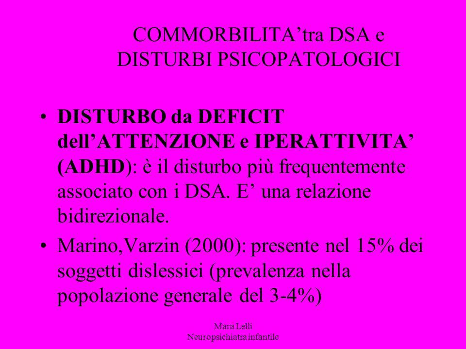 COMMORBILITA'tra DSA e DISTURBI PSICOPATOLOGICI