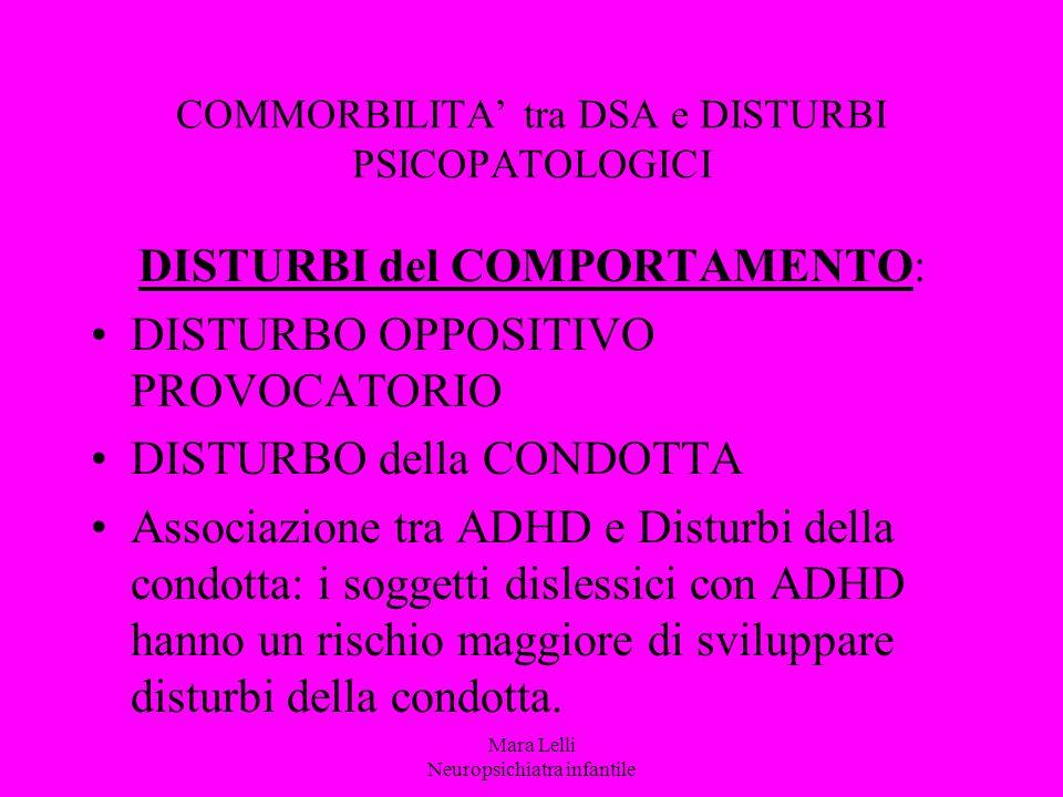 COMMORBILITA' tra DSA e DISTURBI PSICOPATOLOGICI