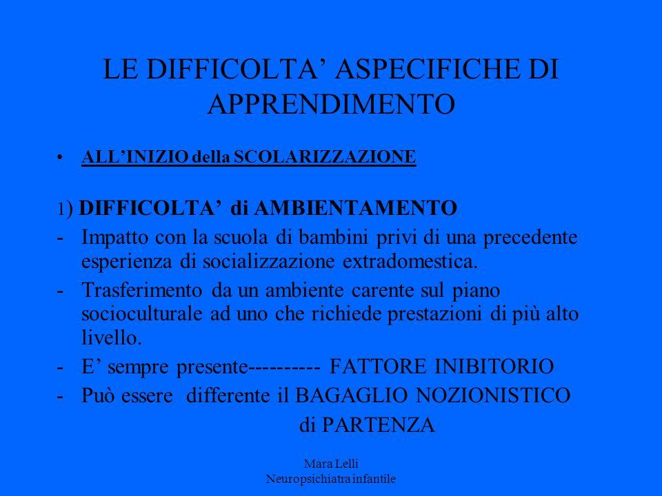 LE DIFFICOLTA' ASPECIFICHE DI APPRENDIMENTO