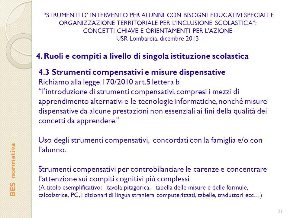 4. Ruoli e compiti a livello di singola istituzione scolastica