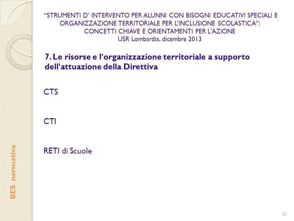 STRUMENTI D' INTERVENTO PER ALUNNI CON BISOGNI EDUCATIVI SPECIALI E ORGANIZZAZIONE TERRITORIALE PER L'INCLUSIONE SCOLASTICA :