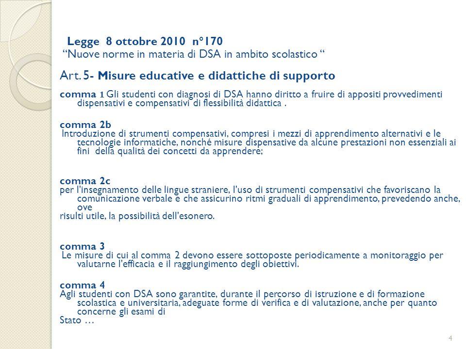 Art. 5- Misure educative e didattiche di supporto