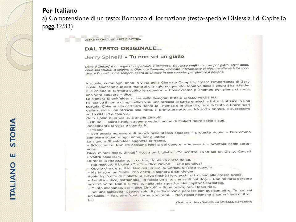 ITALIANO E STORIA Per Italiano