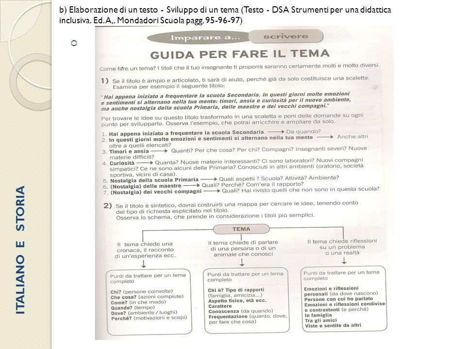 b) Elaborazione di un testo - Sviluppo di un tema (Testo - DSA Strumenti per una didattica inclusiva. Ed. A,. Mondadori Scuola pagg. 95-96-97)