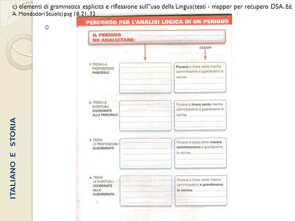 c) elementi di grammatica esplicita e riflessione sull uso della Lingua(testi - mapper per recupero DSA. Ed. A. Mondadori Scuola) pag 18, 21, 32