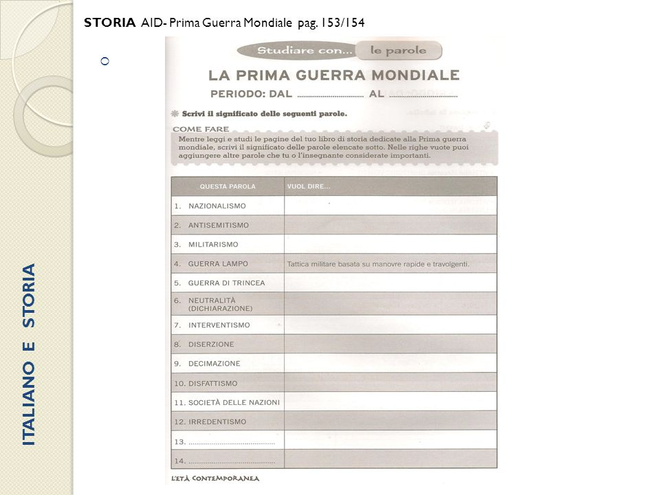 STORIA AID- Prima Guerra Mondiale pag. 153/154