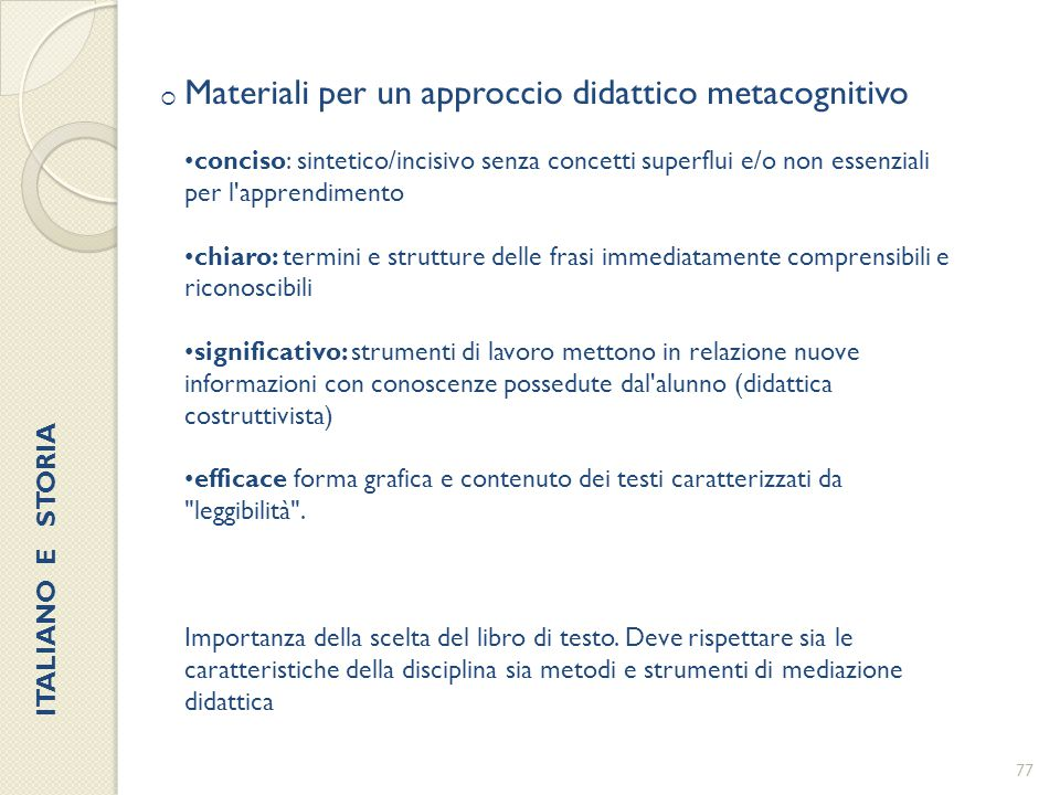 Materiali per un approccio didattico metacognitivo