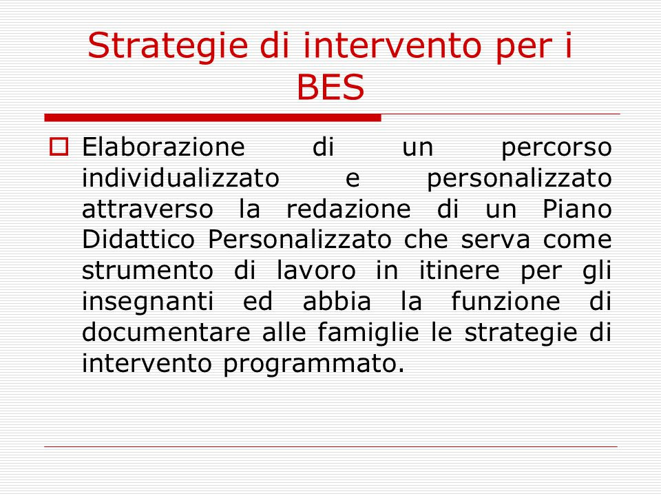 Strategie di intervento per i BES