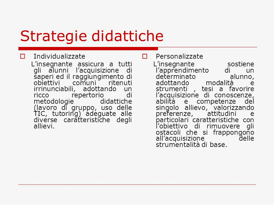 Strategie didattiche Individualizzate