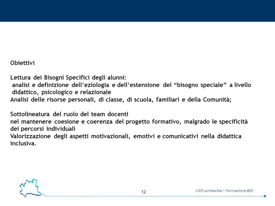 Obiettivi Lettura dei Bisogni Specifici degli alunni: analisi e definizione dell'eziologia e dell'estensione del bisogno speciale a livello.