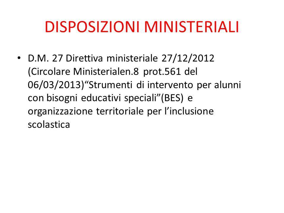 DISPOSIZIONI MINISTERIALI
