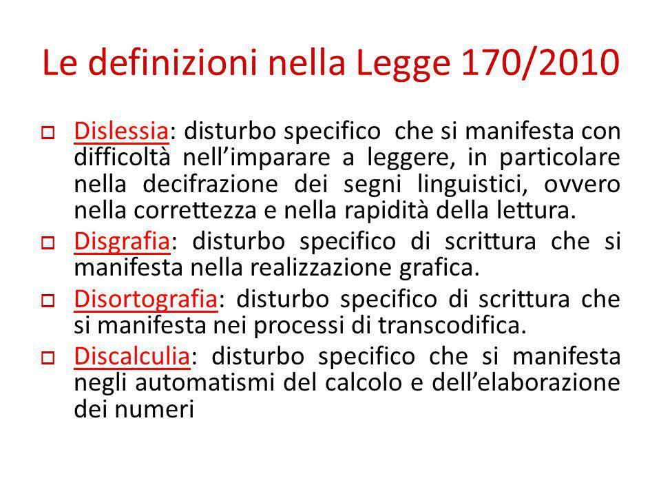 Le definizioni nella Legge 170/2010