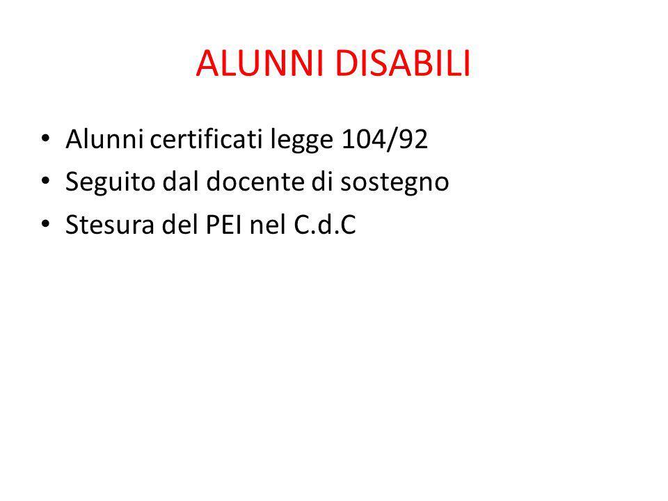 ALUNNI DISABILI Alunni certificati legge 104/92