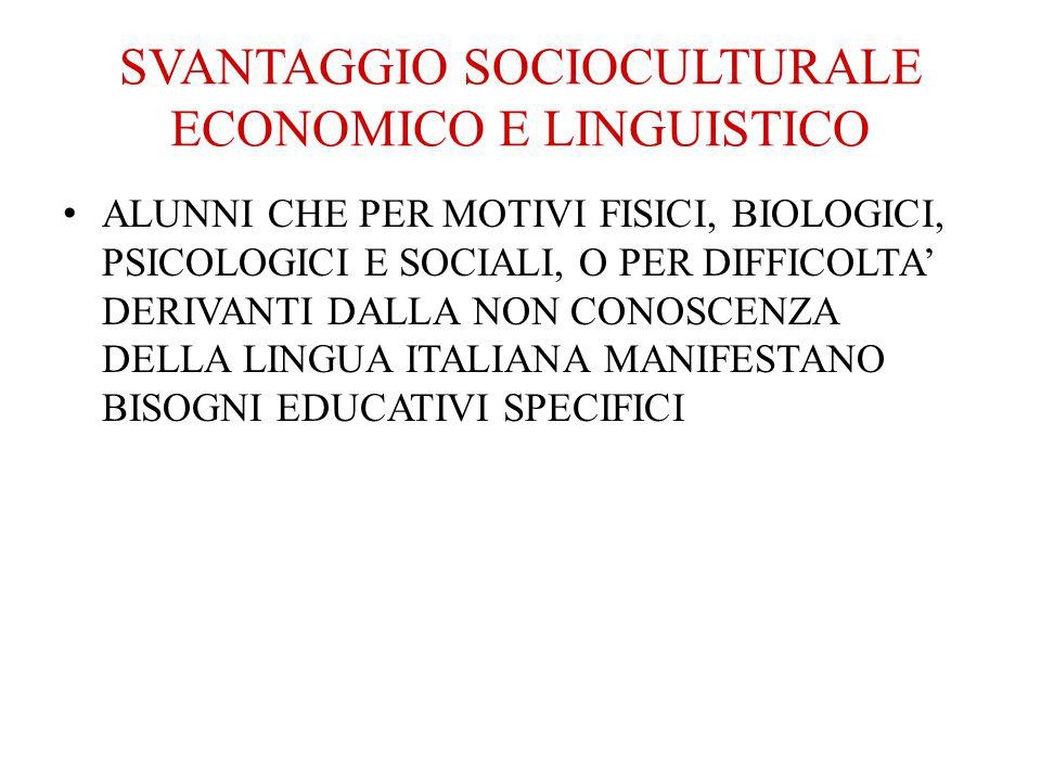 SVANTAGGIO SOCIOCULTURALE ECONOMICO E LINGUISTICO