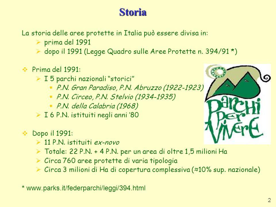 Storia La storia delle aree protette in Italia può essere divisa in: