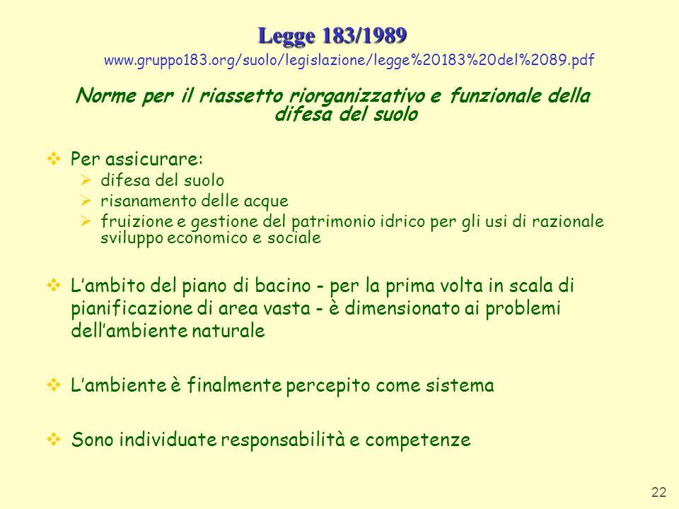 Legge 183/1989 www.gruppo183.org/suolo/legislazione/legge%20183%20del%2089.pdf.