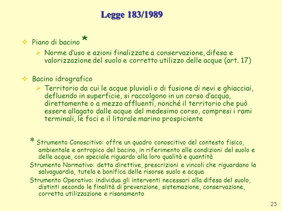 Legge 183/1989 Piano di bacino *