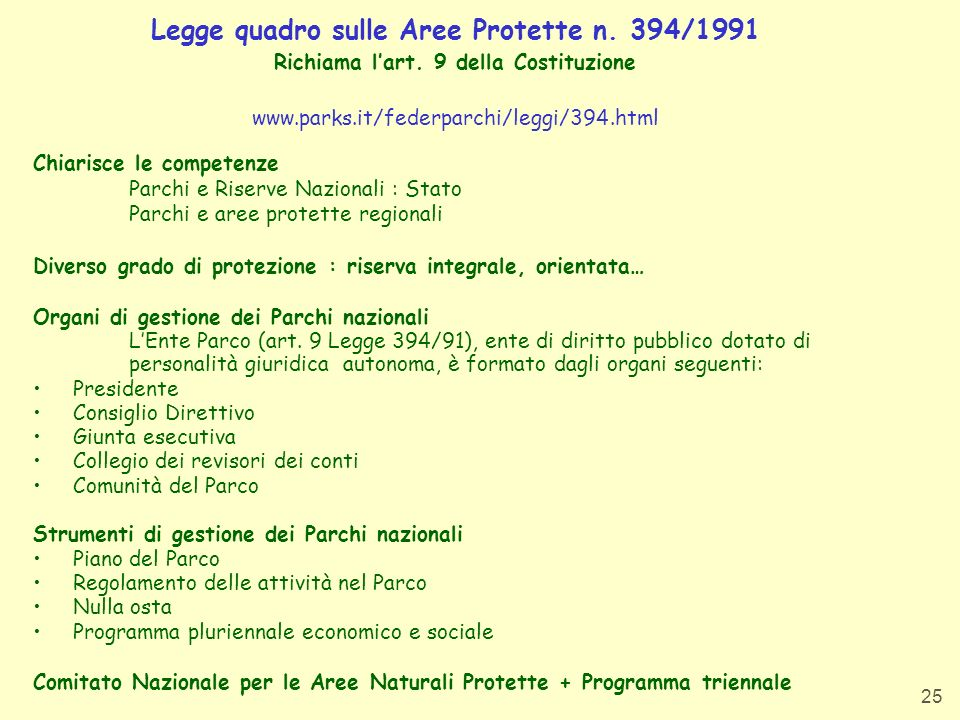 Legge quadro sulle Aree Protette n. 394/1991