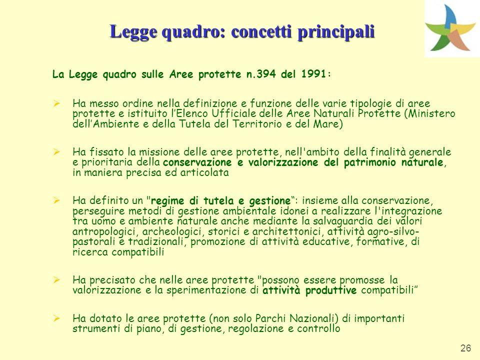 Legge quadro: concetti principali