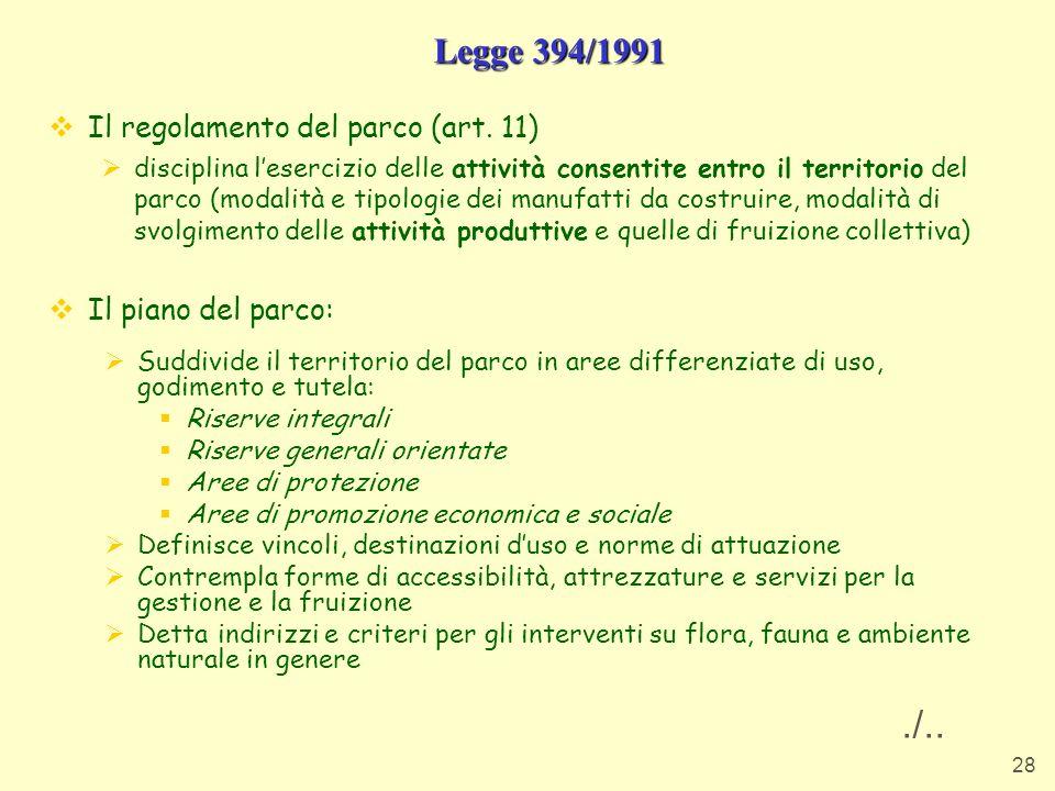 ./.. Legge 394/1991 Il regolamento del parco (art. 11)