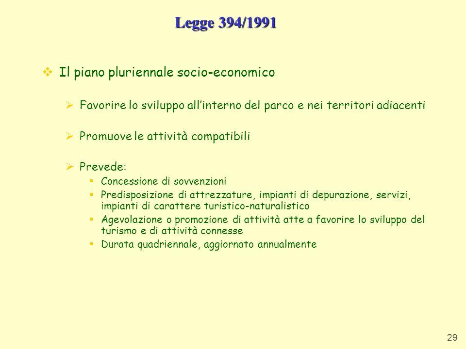 Legge 394/1991 Il piano pluriennale socio-economico