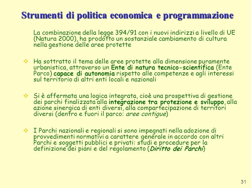 Strumenti di politica economica e programmazione