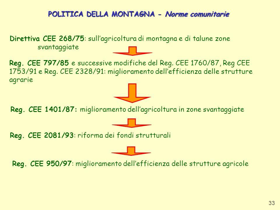 POLITICA DELLA MONTAGNA - Norme comunitarie
