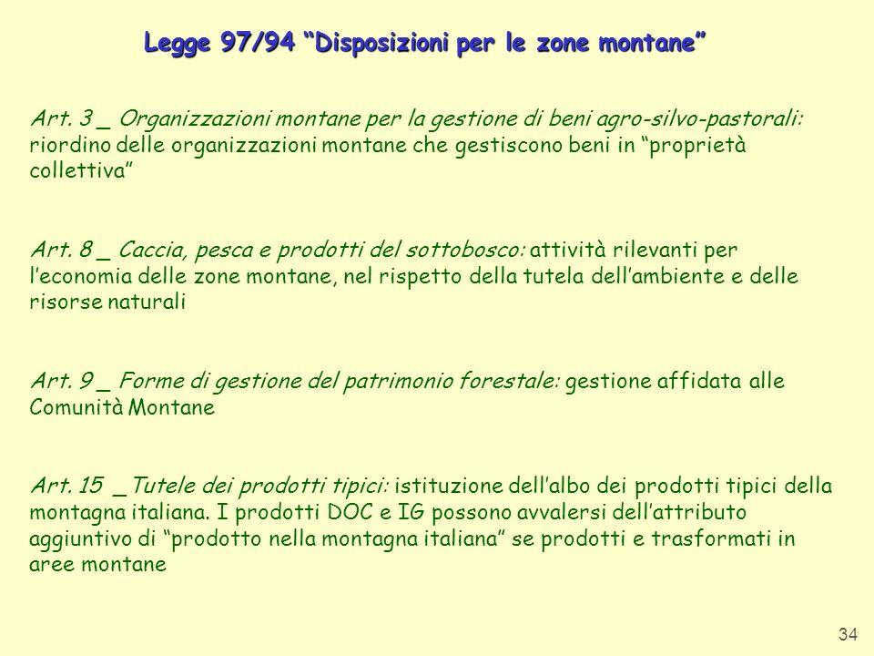 Legge 97/94 Disposizioni per le zone montane