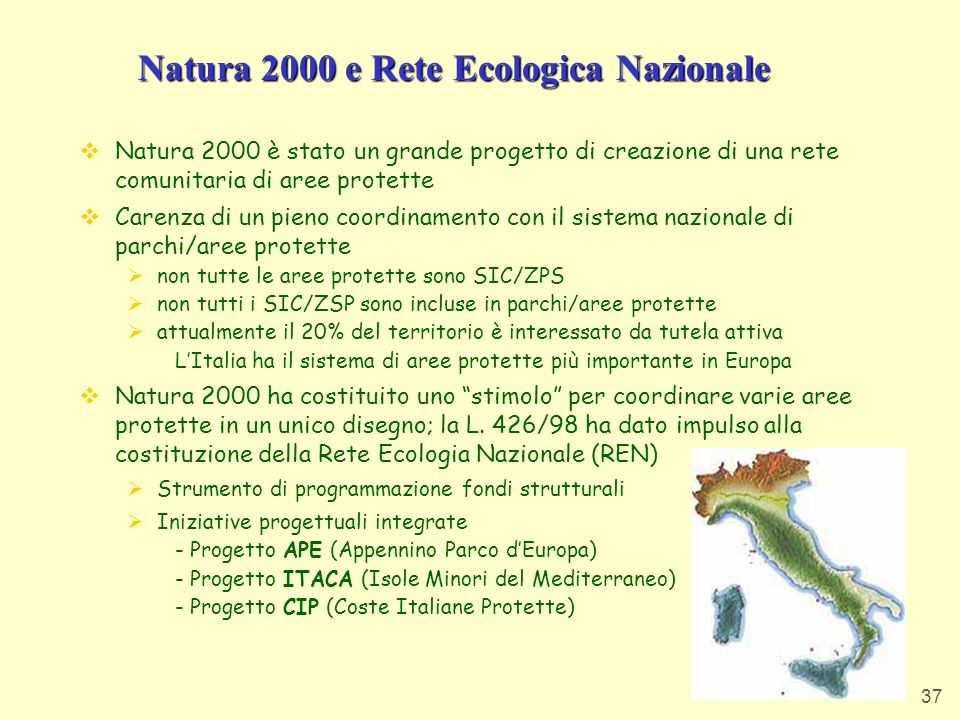 Natura 2000 e Rete Ecologica Nazionale