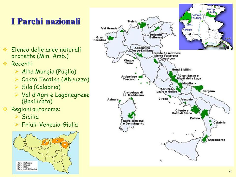 I Parchi nazionali Elenco delle aree naturali protette (Min. Amb.)