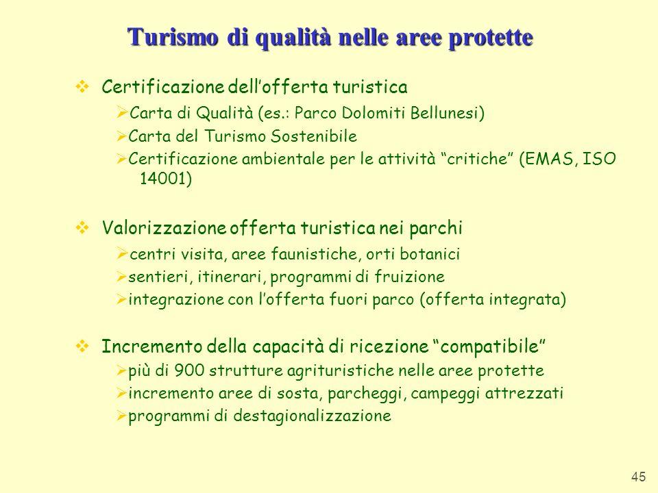 Turismo di qualità nelle aree protette