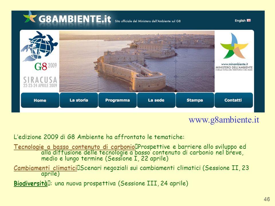 www.g8ambiente.itL'edizione 2009 di G8 Ambiente ha affrontato le tematiche: