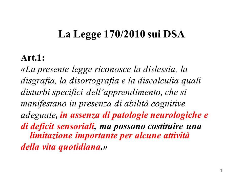 La Legge 170/2010 sui DSA Art.1: «La presente legge riconosce la dislessia, la. disgrafia, la disortografia e la discalculia quali.