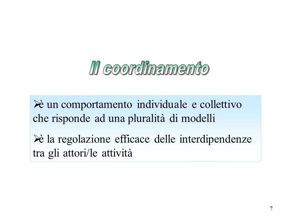 Il coordinamento è un comportamento individuale e collettivo che risponde ad una pluralità di modelli.