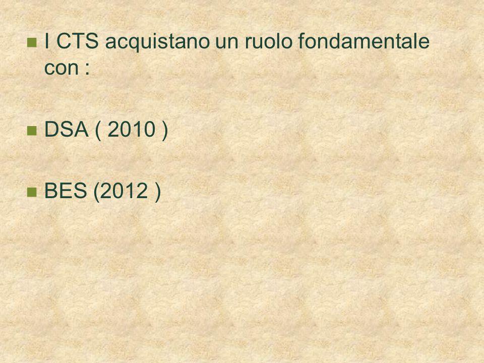 I CTS acquistano un ruolo fondamentale con :