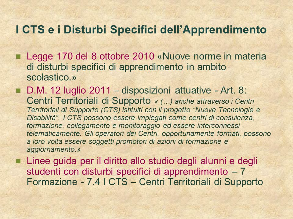 I CTS e i Disturbi Specifici dell'Apprendimento