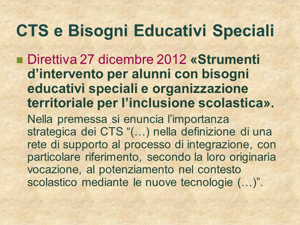 CTS e Bisogni Educativi Speciali