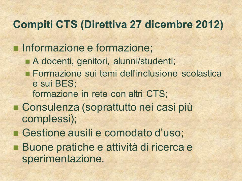 Compiti CTS (Direttiva 27 dicembre 2012)