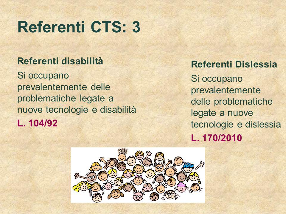 Referenti CTS: 3 Referenti disabilità Referenti Dislessia