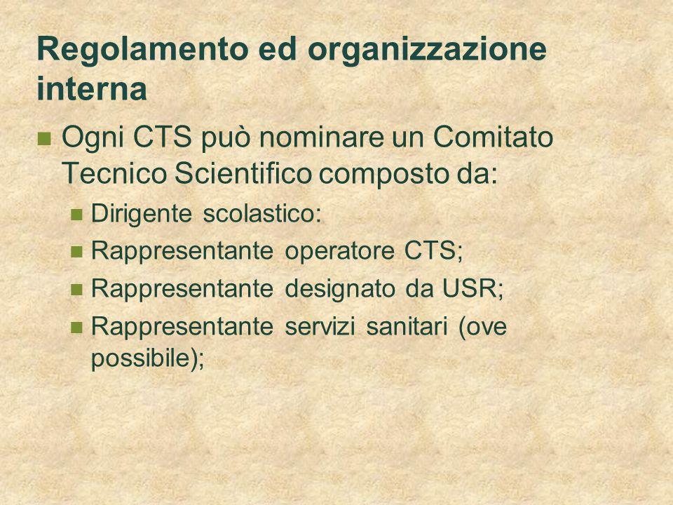 Regolamento ed organizzazione interna