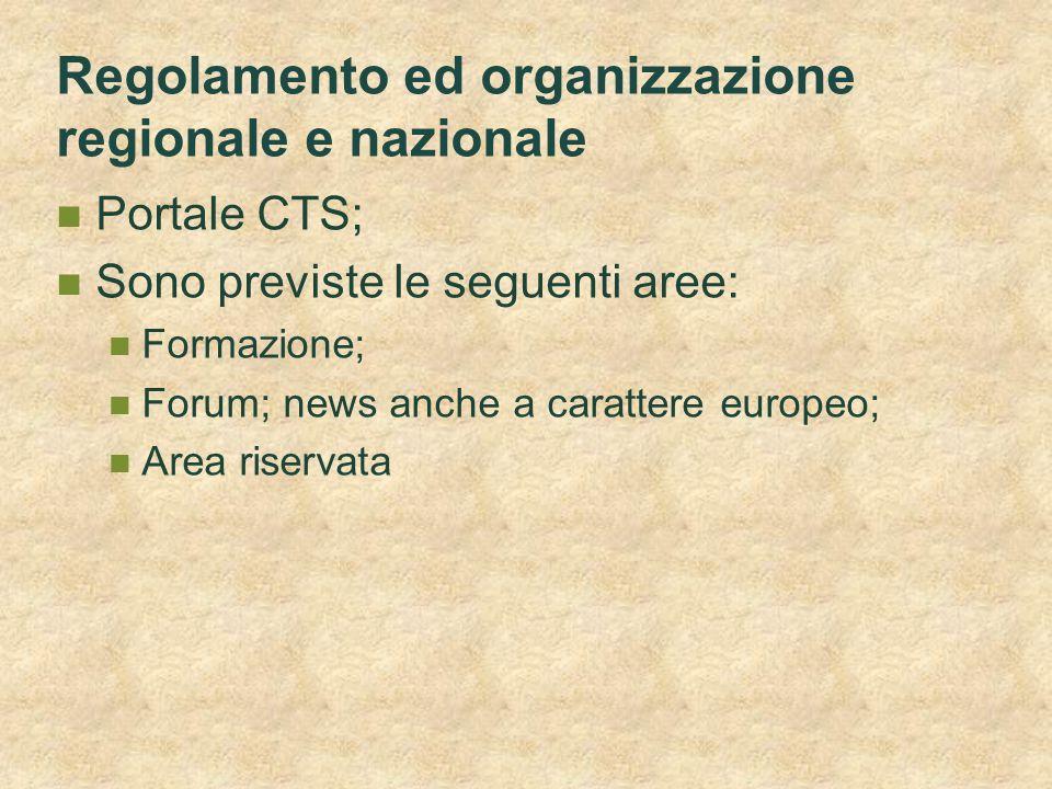Regolamento ed organizzazione regionale e nazionale
