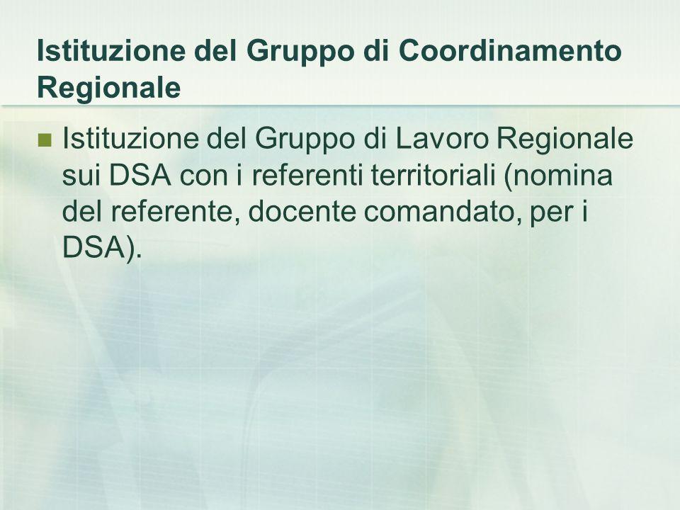Istituzione del Gruppo di Coordinamento Regionale