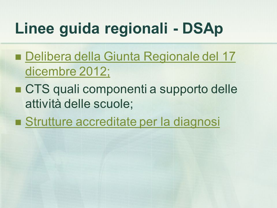 Linee guida regionali - DSAp