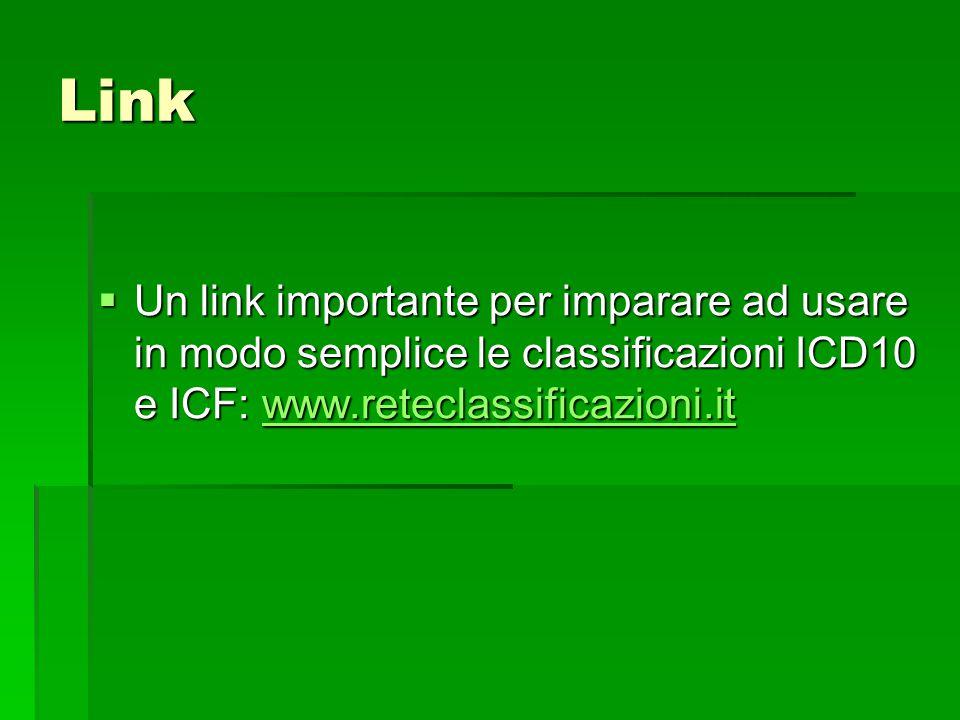 Link Un link importante per imparare ad usare in modo semplice le classificazioni ICD10 e ICF: www.reteclassificazioni.it.