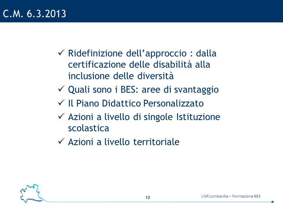 C.M. 6.3.2013 Ridefinizione dell'approccio : dalla certificazione delle disabilità alla inclusione delle diversità.