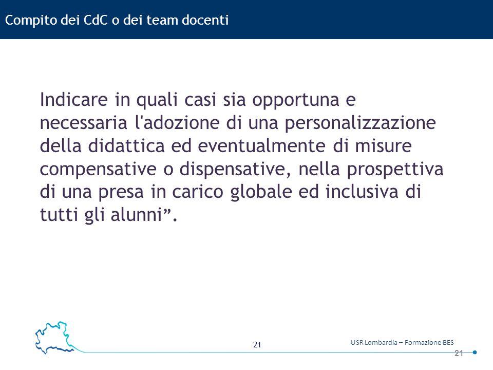 Compito dei CdC o dei team docenti